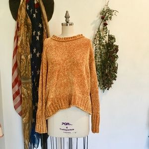 r+j couture || golden chenille sweater NWOT
